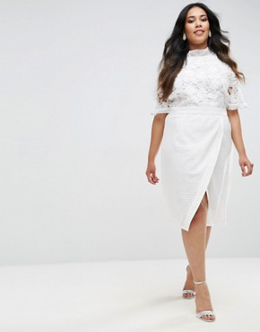 photo Lace Bodice Pencil Dress with Ruffle Neck and Wrap Skirt by Truly You, color White - Image 4