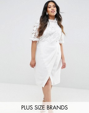 photo Lace Bodice Pencil Dress with Ruffle Neck and Wrap Skirt by Truly You, color White - Image 1