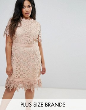 photo Contrast Lace Mini Dress with Insert Trim by Truly You, color Pink - Image 1