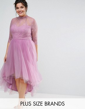photo 3/4 Sleeve Lace Overlay Midi Dress with Tulle Skirt by Chi Chi London Plus, color Pink - Image 1