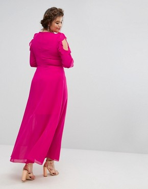 photo Ruffle Cold Shoulder Maxi Dress with Tie Waist by Truly You, color Pink - Image 2