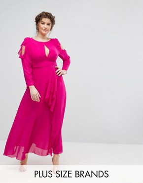 photo Ruffle Cold Shoulder Maxi Dress with Tie Waist by Truly You, color Pink - Image 1