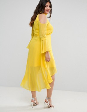 photo Cold Shoulder Midi Dress with Fluted Sleeve by Truly You, color Yellow - Image 2