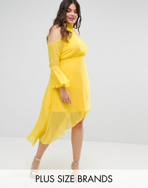 photo Cold Shoulder Midi Dress with Fluted Sleeve by Truly You, color Yellow - Image 1