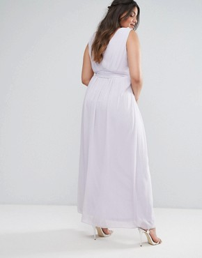 photo Wrap Embellished Maxi Dress by TFNC Plus WEDDING, color Purple - Image 2