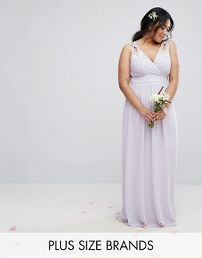photo Wrap Embellished Maxi Dress by TFNC Plus WEDDING, color Purple - Image 1