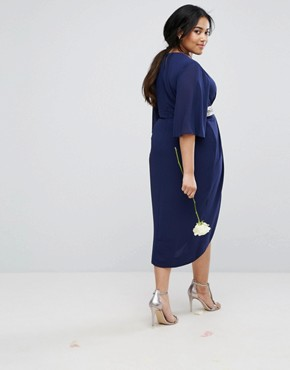 photo Kimono Sleeve Midi Dress with Wrap Skirt by TFNC Plus WEDDING, color Navy - Image 2