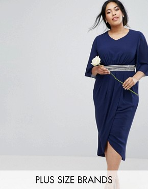 photo Kimono Sleeve Midi Dress with Wrap Skirt by TFNC Plus WEDDING, color Navy - Image 1