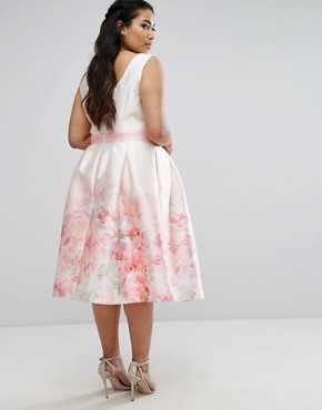 photo Rose Border Midi Dress with Contrast Waist by Chi Chi London Plus, color Multi - Image 2