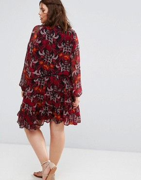photo Long Sleeve Floral Smock Dress with Tie Neck by Alice & You, color Multi - Image 2