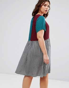 photo Contrast Gingham Print Skater Dress by Alice & You, color Multi - Image 2