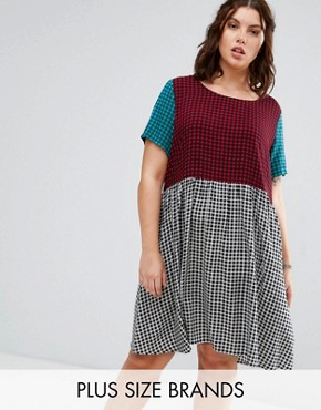 photo Contrast Gingham Print Skater Dress by Alice & You, color Multi - Image 1