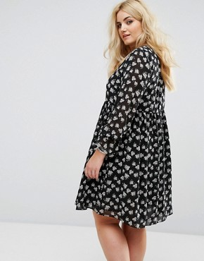 photo All Over Floral Print Smock Dress with Frill Sleeve by Alice & You, color Multi - Image 2