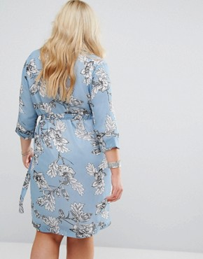 photo Floral Wrap Shift Dress with Collar and Tie Waist by Alice & You, color Blue - Image 2