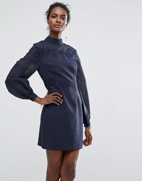 photo Embroidered Belle Sleeve Mini Dress by Keepsake, color Navy - Image 1