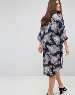 photo 3/4 Sleeve Floral Print Dress by Junarose, color Navy - Image 2