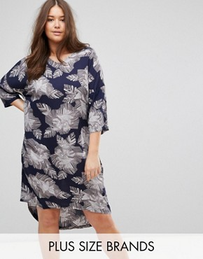 photo 3/4 Sleeve Floral Print Dress by Junarose, color Navy - Image 1