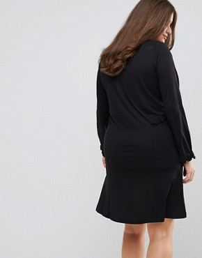photo Long Sleeve Jersey Dress with Frill Waist and Cuff by Junarose, color Black - Image 2