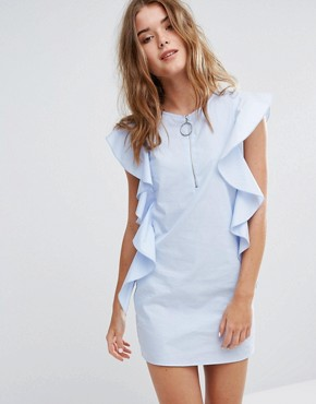 photo Ruffle Detail Dress by Pull&Bear, color Blue - Image 1