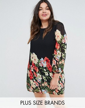 photo Border Print Tunic Dress by Yumi Plus, color Black - Image 1