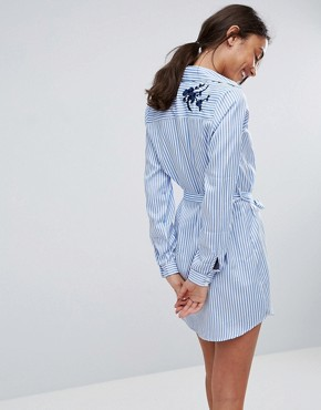 photo Floral Embroidered Shirt Dress with Tie Waist by Parisian Tall, color White/Blue - Image 2