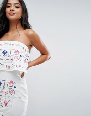 photo Strapless Embroidered Dress by Parisian Petite, color White - Image 3