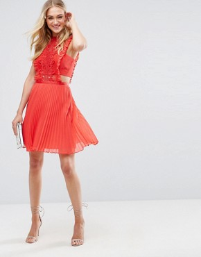 photo Lace Pinafore Pleated Mini Dress by ASOS TALL, color Red - Image 4