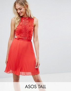 photo Lace Pinafore Pleated Mini Dress by ASOS TALL, color Red - Image 1