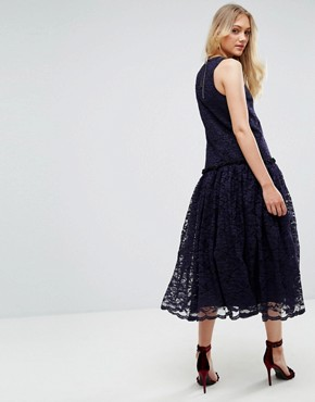 photo Lace Smock Drop Waist Midi Dress by ASOS TALL, color Navy - Image 2