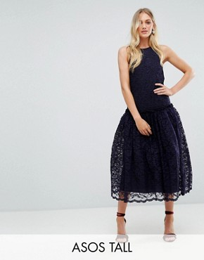 photo Lace Smock Drop Waist Midi Dress by ASOS TALL, color Navy - Image 1