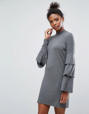 photo Frill Bell sleeve Dress by Only, color Medium Grey Melange - Image 1