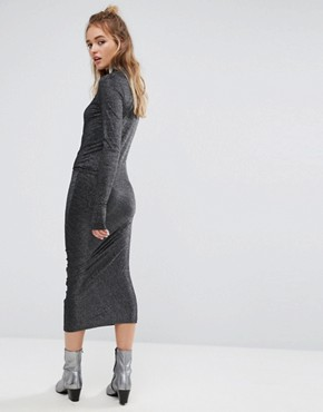photo High Neck Metallic Dress with Ruching by Cheap Monday, color Black - Image 2