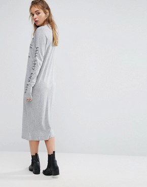 photo Type Graphic Print Dress in Grey Marl by Cheap Monday, color Grey Melange - Image 2