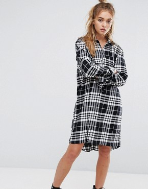 photo Flannel Check Shirt Dress with Open Back Detail by Cheap Monday, color Clean Tartan - Image 2
