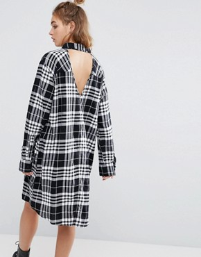 photo Flannel Check Shirt Dress with Open Back Detail by Cheap Monday, color Clean Tartan - Image 1