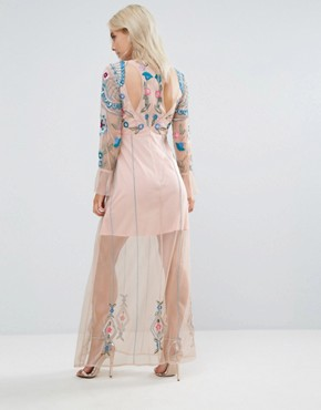 photo Floral Embroidered Mesh Maxi Dress with Gathered Cuff and Open Back Detail by Frock and Frill Petite, color Blush - Image 2