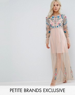 photo Floral Embroidered Mesh Maxi Dress with Gathered Cuff and Open Back Detail by Frock and Frill Petite, color Blush - Image 1