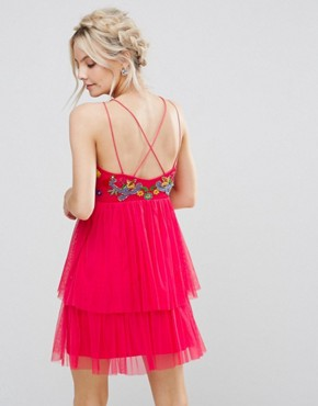 photo Embroidered Top Mini Skater Dress with Tulle Tiered Skirt by Frock and Frill Petite, color Coral - Image 2