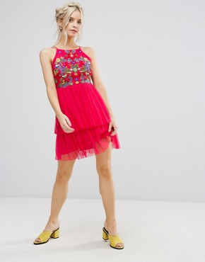 photo Embroidered Top Mini Skater Dress with Tulle Tiered Skirt by Frock and Frill Petite, color Coral - Image 4