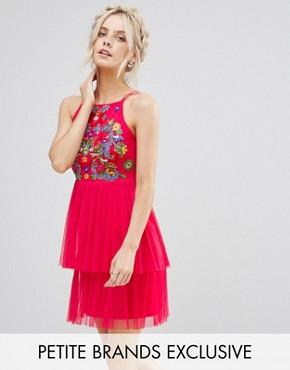 photo Embroidered Top Mini Skater Dress with Tulle Tiered Skirt by Frock and Frill Petite, color Coral - Image 1