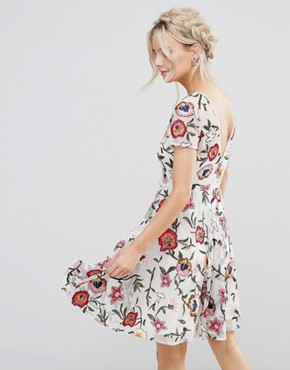 photo Floral Embroidered Mini Skater Dress with Cap Sleeves & High Low Hem by Frock and Frill Petite, color Off White - Image 2
