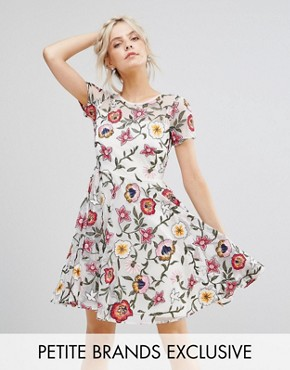 photo Floral Embroidered Mini Skater Dress with Cap Sleeves & High Low Hem by Frock and Frill Petite, color Off White - Image 1