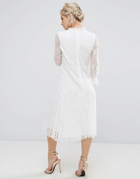 photo Frilly High Neck Allover Lace Skater Dress by Little Mistress Petite, color Cream - Image 2