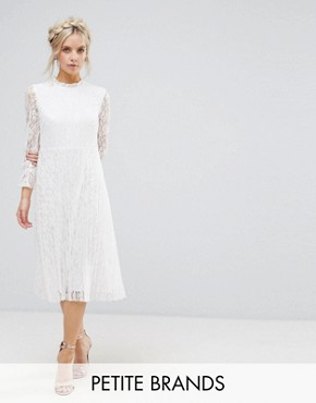 photo Frilly High Neck Allover Lace Skater Dress by Little Mistress Petite, color Cream - Image 1