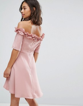 photo Bardot Frill High Low Hem Skater Dress by Paper Dolls Petite, color Blush - Image 2