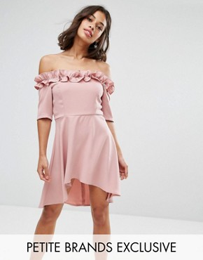photo Bardot Frill High Low Hem Skater Dress by Paper Dolls Petite, color Blush - Image 1