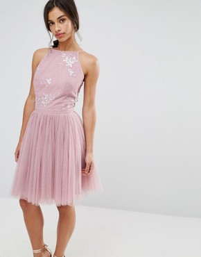photo Embellished Top Mini Tulle Prom Dress with Bow Back Detail by Little Mistress Petite, color Mauve - Image 2
