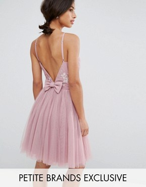 photo Embellished Top Mini Tulle Prom Dress with Bow Back Detail by Little Mistress Petite, color Mauve - Image 1