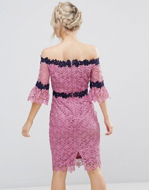 photo Bardot Allover Lace Pencil Dress with Contrast Detail by Paper Dolls Petite, color Mauve - Image 2