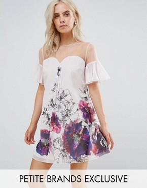 photo Floral Printed Shift Dress with Fluted Sleeves by Little Mistress Petite, color Multi - Image 1